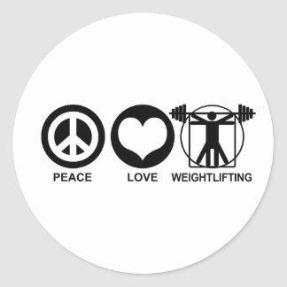 Peace Love Weightlifting Classic Round Sticker