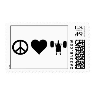 Peace Love Weightlifting Postage Stamp