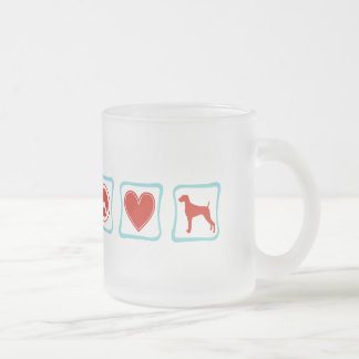 Peace Love Weimaraners Squares Frosted Glass Coffee Mug