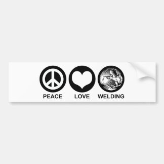 Peace Love Welding Bumper Sticker