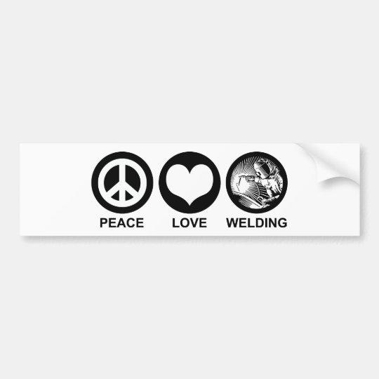 Peace Love Welding Bumper Sticker