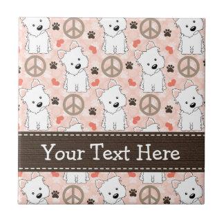 Peace Love Westies Ceramic Tile Trivet
