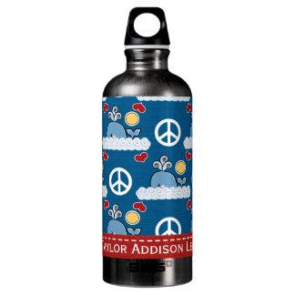 Peace Love Whale BPA Free Aluminum Water Bottle