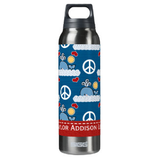 Peace Love Whale BPA Free Thermos Bottle