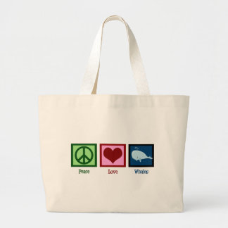 Peace Love Whales Large Tote Bag