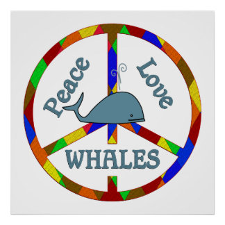 Peace Love Whales Poster