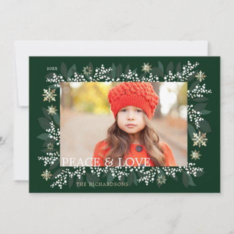 Peace & Love White Berries Foliage Snowflakes Holiday Card