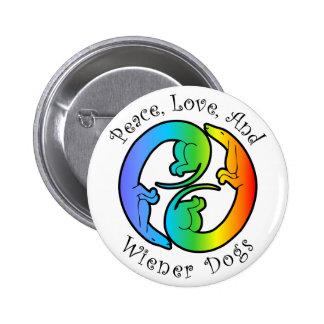 Peace, Love, & Wiener Dogs Button