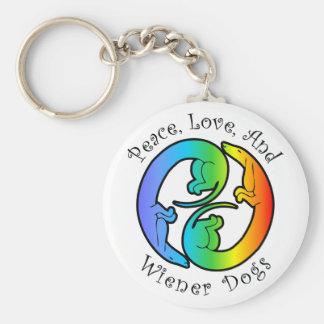 Peace, Love, & Wiener Dogs Keychain
