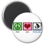 Peace Love Windsurfing 2 Inch Round Magnet