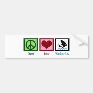 Peace Love Windsurfing Bumper Sticker