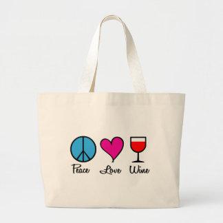 Peace Love Wine1 Large Tote Bag