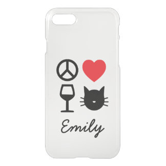 Peace, Love, Wine and Cats Personalized iPhone 8/7 Case
