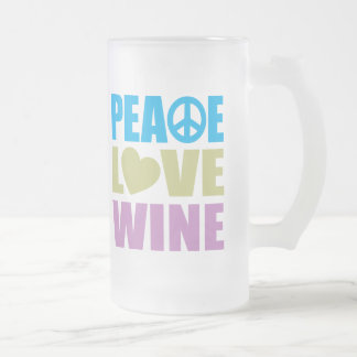 Peace Love Wine Frosted Glass Beer Mug