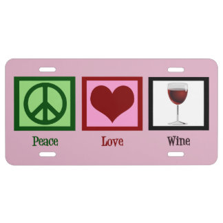 Peace Love Wine License Plate