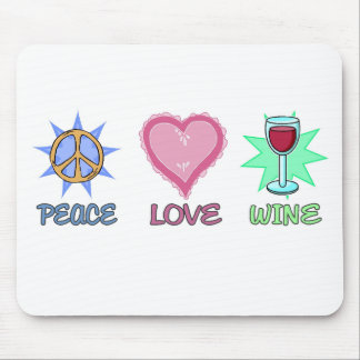 Peace Love & Wine Mouse Pad
