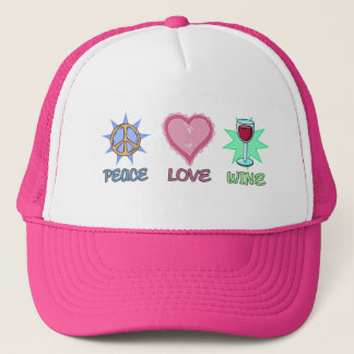 Peace Love & Wine Trucker Hat