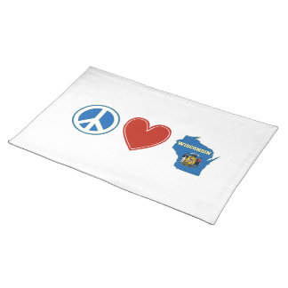 Peace Love Wisconsin Cloth Placemat