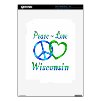 Peace Love Wisconsin Decal For iPad 2