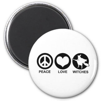 Peace Love Witches 2 Inch Round Magnet
