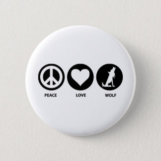 Peace Love Wolf Button