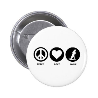 Peace Love Wolf Buttons