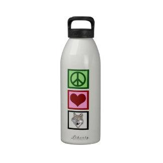 Peace Love Wolves Water Bottles