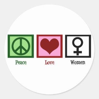 Peace Love Women Round Sticker