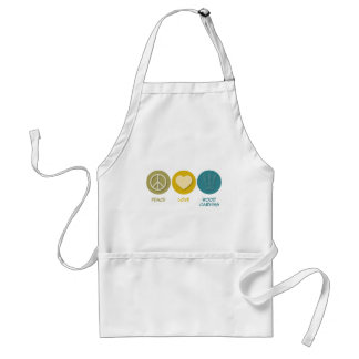 Peace Love Wood Carving Adult Apron