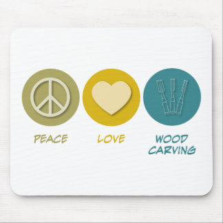 Peace Love Wood Carving Mouse Pad