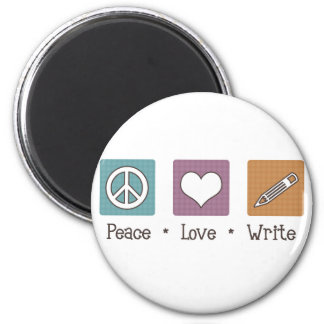 Peace Love Write 2 Inch Round Magnet