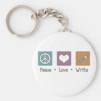 Peace Love Write Keychain