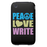 Peace Love Write Tough iPhone 3 Cover