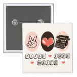 Peace Love Write Typewriter Button
