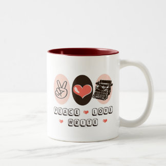 Peace Love Write Typewriter Mug