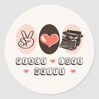 Peace Love Write Typewriter Stickers