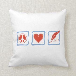 Peace Love Writers Squares Throw Pillow