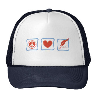 Peace Love Writers Squares Trucker Hat