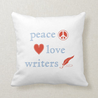 Peace Love Writers Throw Pillow