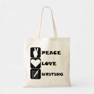 Peace Love Writing Canvas Bags