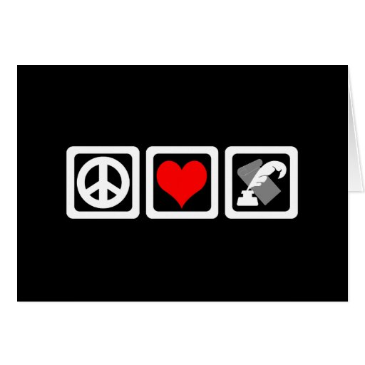 peace love writing card