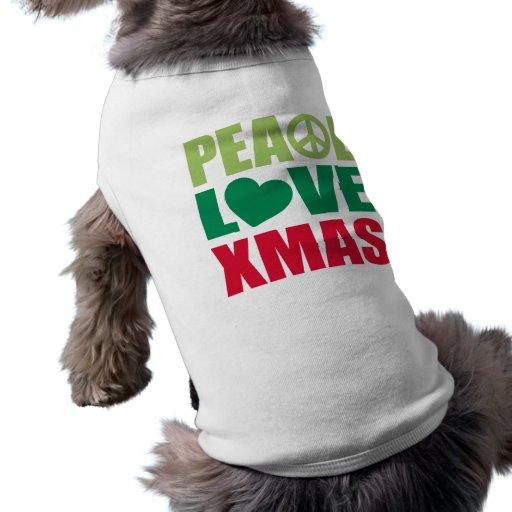 Peace Love Xmas Dog Tshirt