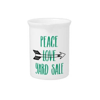 Peace Love Yard Sale Arrow Line Beverage Pitcher