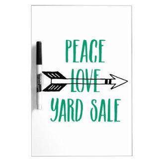 Peace Love Yard Sale Arrow Line Dry-Erase Board