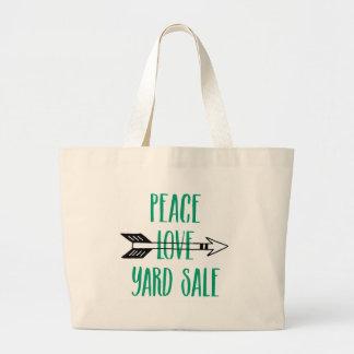Peace Love Yard Sale Arrow Line Large Tote Bag