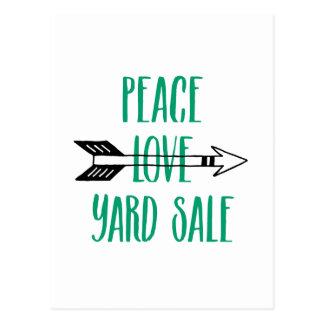 Peace Love Yard Sale Arrow Line Postcard
