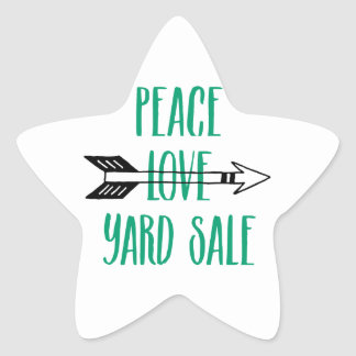Peace Love Yard Sale Arrow Line Star Sticker