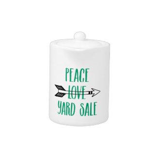Peace Love Yard Sale Arrow Line Teapot