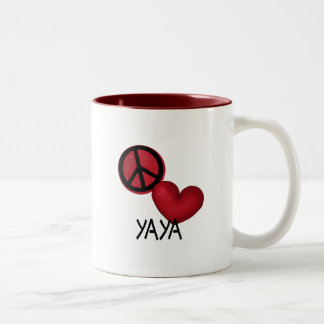 Peace Love YaYa Two-Tone Coffee Mug