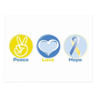 Peace Love Yellow/Blue Hope Postcard